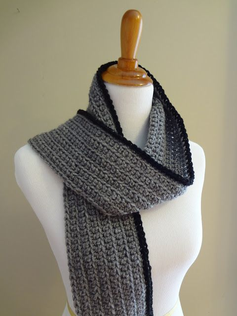 Free Crochet Pattern...Outline Ribbed Scarf...this should work up quickly. I can see so many color variations.