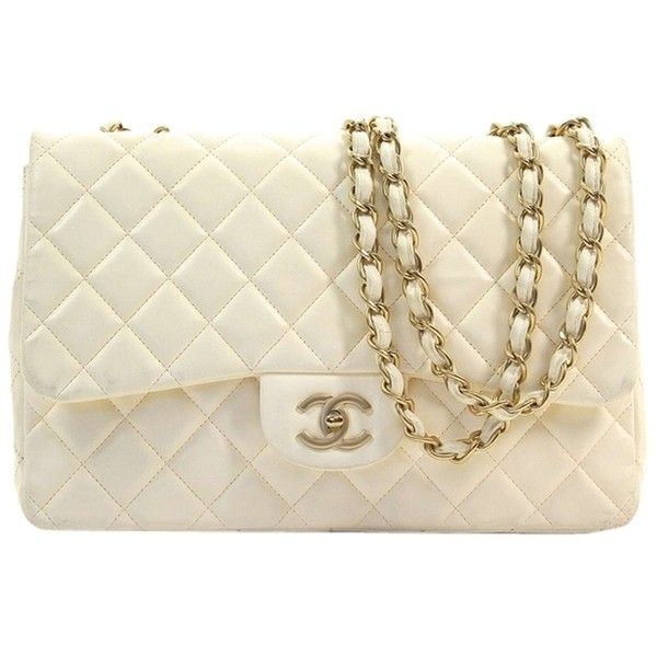 Pre-owned Chanel Lamb Skin Jumbo Flap Shoulder Bag found on Polyvore featuring bags, handbags, shoulder bags, cream, flap handbags, pre owned purses, cream handbag, brown handbags and flap shoulder bag