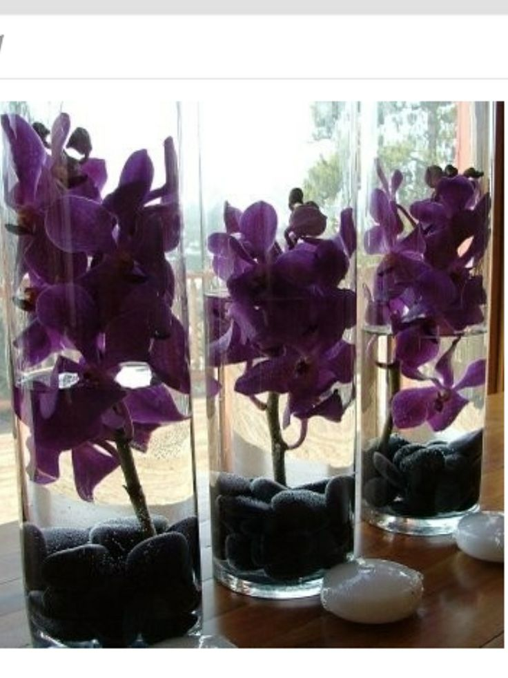 Purple and black centerpieces | Macadamia Flores | Pinterest