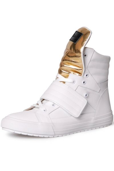 Lace-Up White High-Top Sneakers - OASAP.com