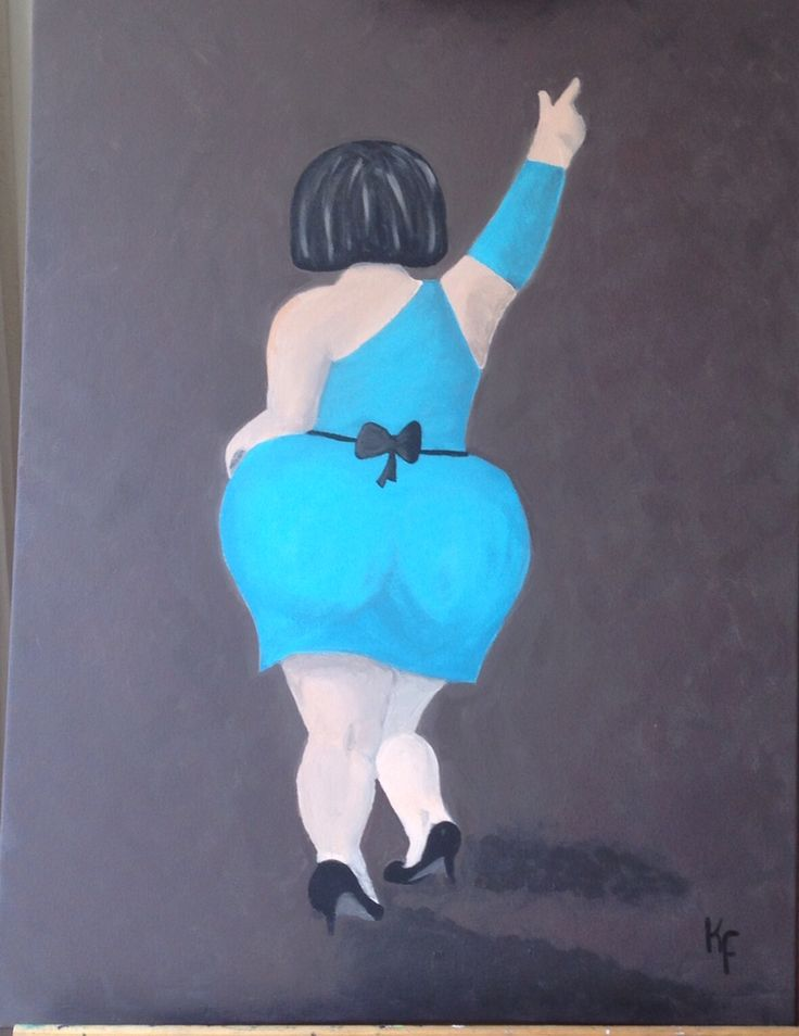 Dansende dikke dame geschilderd met acrylverf.