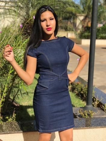 9f853f627 Vestido Feminino Jeans Com Lycra Moda Feminina Cor Azul Petróleo detalhes  Lacinho borboleta G - Jacto