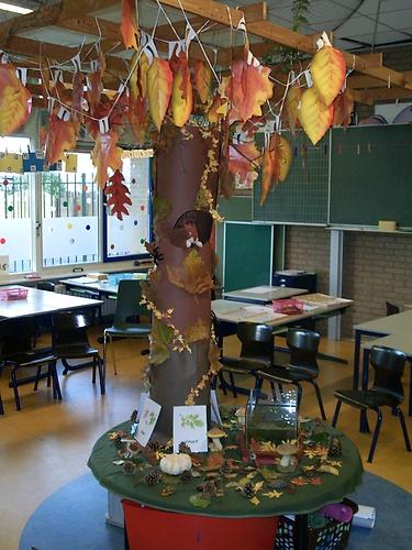 Maak voor elk seizoen een verschillende boom en zet die in je klas. Zo kan je als leerkracht in de klas aandacht besteden aan de vier seizoenen.
