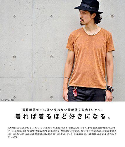 Ouky(オーキー) ビンテージウォッシュ 半袖 Tシャツ <ブルー Mサイズ> メンズ レディース 無地 染色模様 半袖Tシャツ シンプル 大きいサイズ カラー Tシャツ トップス インナー シャツ T-Shirt TOPS