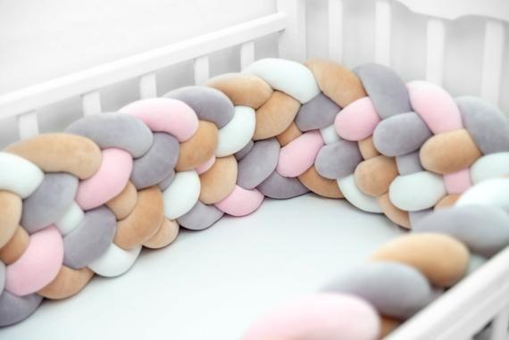 Tour de lit berceau tressé. Bébé lit tour de lit oreiller   Etsy