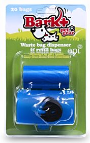Bark+ - Dispenser, Blue, with 1 roll of 20 bags - PUDISBB Bark+™ dispenser self catches the bag along the perforation line and tears with one pull. When used in conjunction with Bark+™ biodegradable waste bags, the dispenser is amazing. One pull, self tears, and you're done. No need to look for the perforation line. No unraveling of bags. Ever. Coreless by design. When you are done with your roll, there are no plastic or paper cores to throw away. No extra waste.