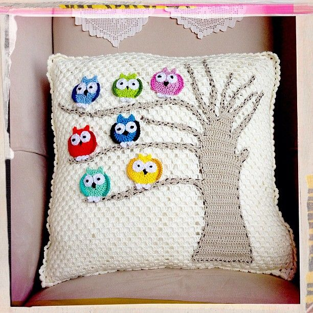 Owls in a tree pillow