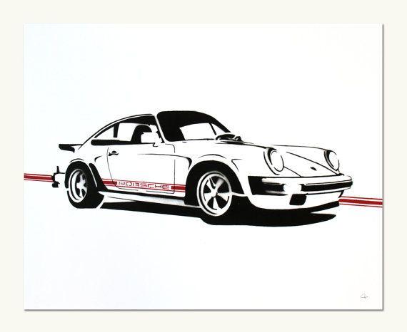 Classic Car Print  Porsche 911SC white by ManualDesigns on Etsy, $50.00
