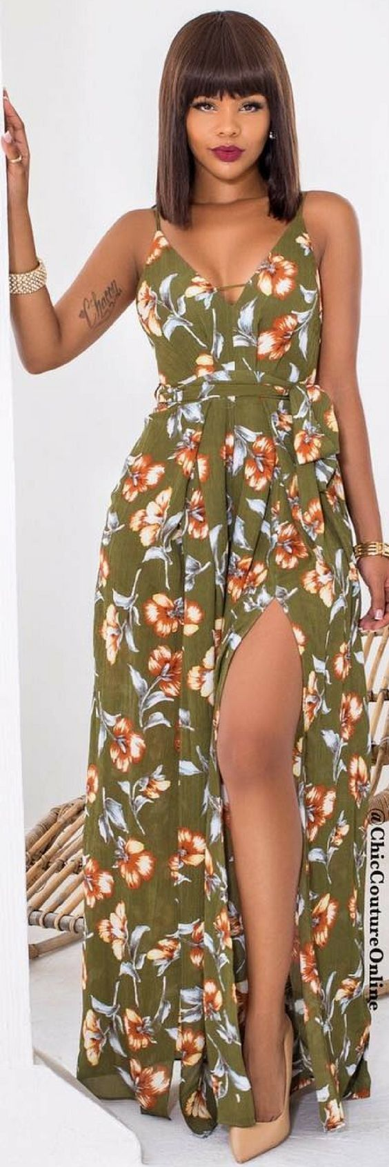 Helah Olive Floral Print Slit Legs Jumpsuit - Fall Outfit Idea by Reyna Love