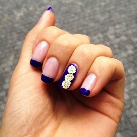 Fimo ozdoby, fialová francúzska manikúra