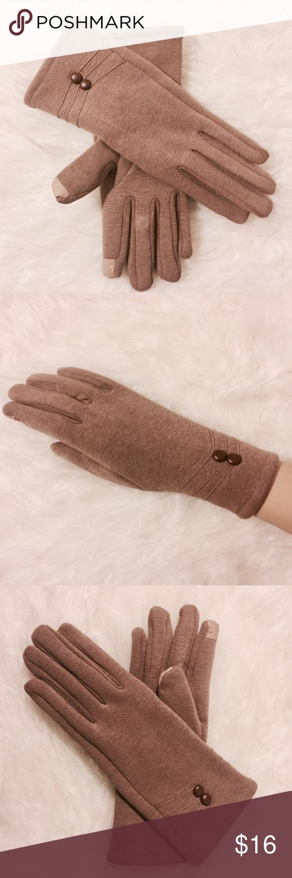 ⭐️ Camel Button Accent Touch Screen Gloves Pretty and practical! Fleece lined touch screen gloves. 100% Acrylic. Machine washable Accessories Gloves & Mittens