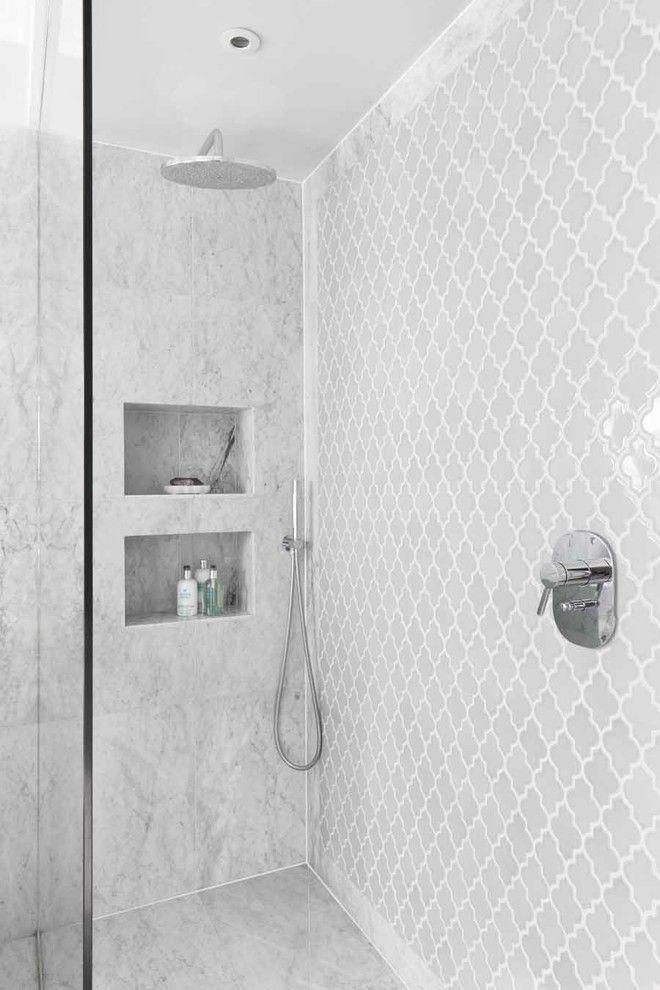 Contemporary Bathroom Design - I like boarder around the tiles