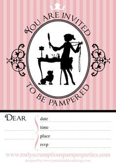 Pamper Party Invitations Free Printables Image Search Results