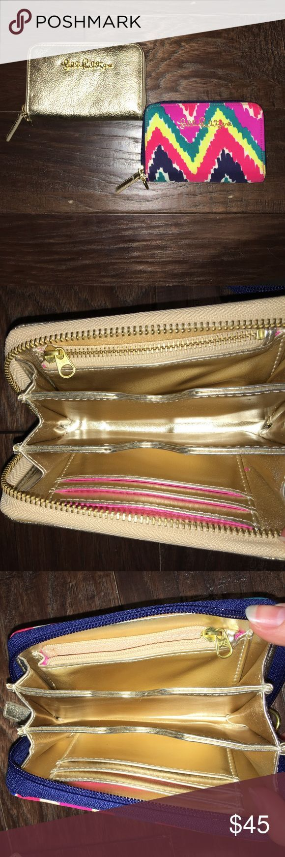 TWO FOR ONE! 2 Lilly Pulitzer Wristlets 💖 Get two for the price of one! Lilly Pulitzer wristlets gently used. Will fit an iPhone 5/s. Gold is leather and the chevron is silk material. Gold and pink lining in both. Offers welcome. (Both the same style wallet). Lilly Pulitzer Accessories Key & Card Holders