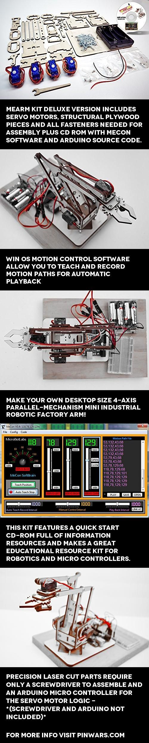 MeArm DIY Robot Arm Kit With MeCon Pro Motion Control Software and Arduino Source Code, MeArm Kit Deluxe version includes Servo motors, Structural plywood pieces and all Fasteners needed for assembly Plus CD rom with MeCon Software and Arduino Source Code. MeArm is a low cost open-source..., #Toys, #RC Figures & Robots