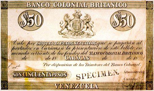 Pieza bbcb50ps-aas (Anverso). Billete del Banco Colonial Británico. 50 Pesos sencillos. Diseño A, Tipo A. Billete tipo specimen sin fecha