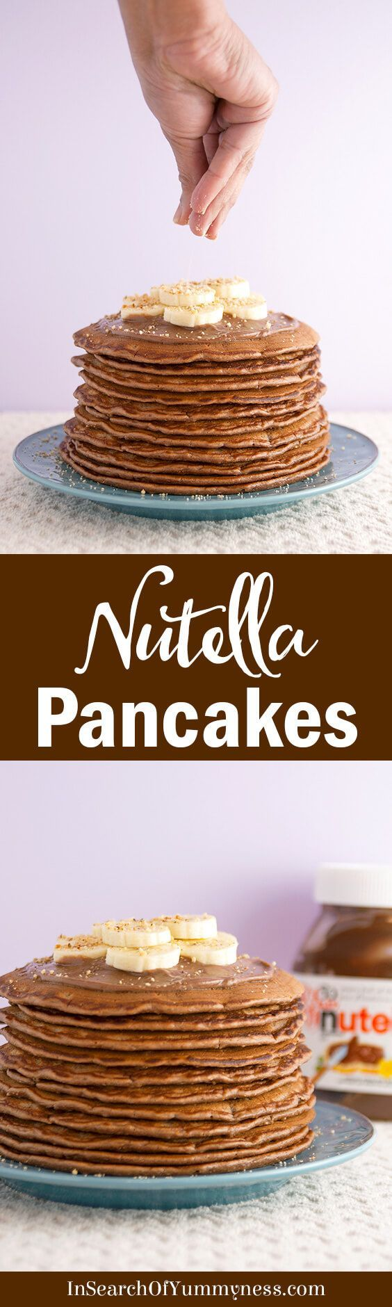 These Nutella Pancakes with Mascarpone Cream are totally decadent! Whip up a batch for a special brunch or Valentines Day treat. Get the #recipe at InSearchOfYummyness.com #Nutella #Pancakes #Ad via @InSearchOfYummy