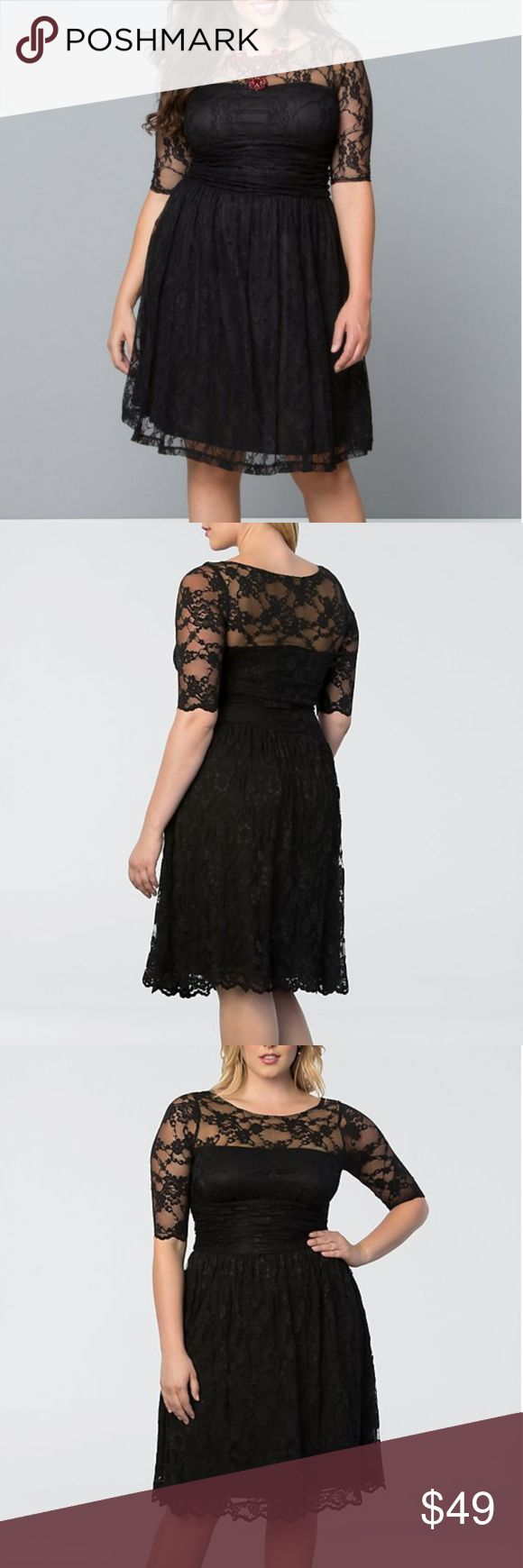 """Kiyonna Luna Lace Dress - Size 2 - 18/20 - New! Kiyonna Luna Lace Dress - Size 2 - 18/20 Black with beige liner   """"Our Luna Lace Dress ups the ante in women's plus size style! With scalloped lace and nude mesh backing to hide bra straps; you'll simply adore this stylish cocktail dress. A slightly full A-line skirt will give you a fabulous hourglass-like shape and is great for any special occasion.""""   This is a gorgeous and flattering dress, but I haven't had any excuses to dress this nice in…"""