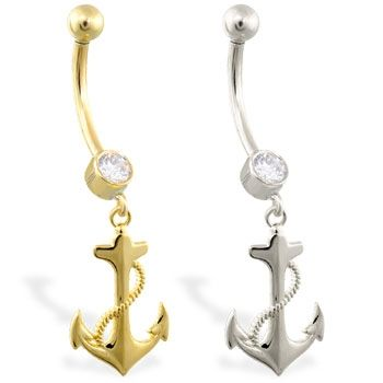 14K Yellow & White Gold anchor belly ring