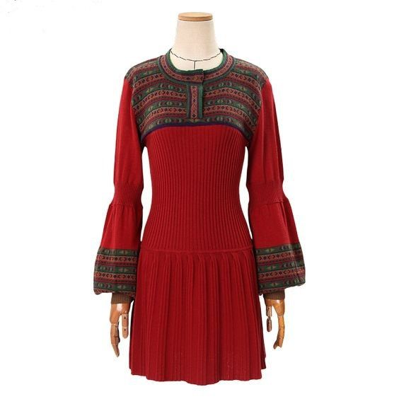 Women's Autumn&Winter Casual Slim Warm Sweater Dress Vintage Lantern Sleeve All-match Knit One-piece Dress