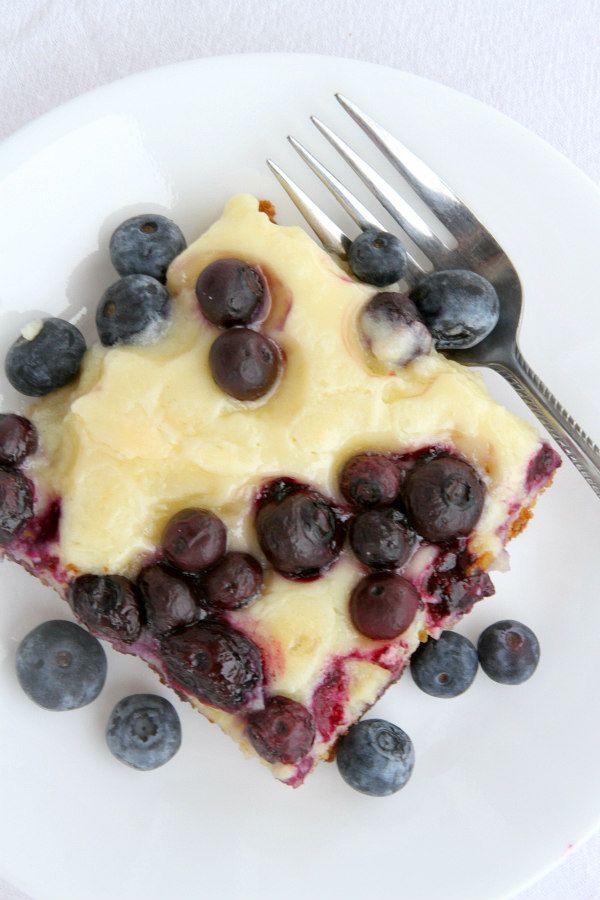 Blueberry Gooey Butter Cake Recipe - from RecipeGirl.com