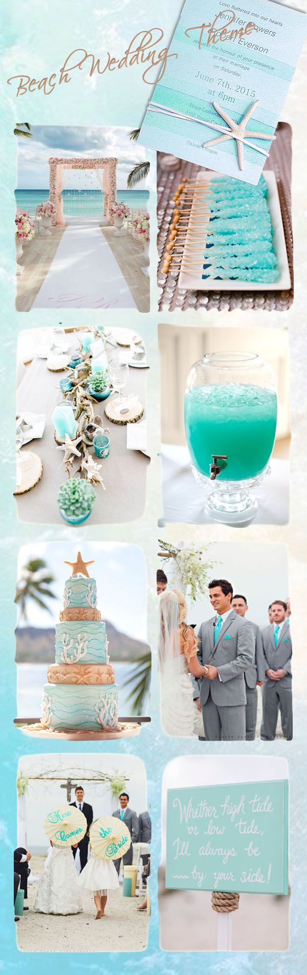 romantic blue beach wedding ideas and beach wedding invitations
