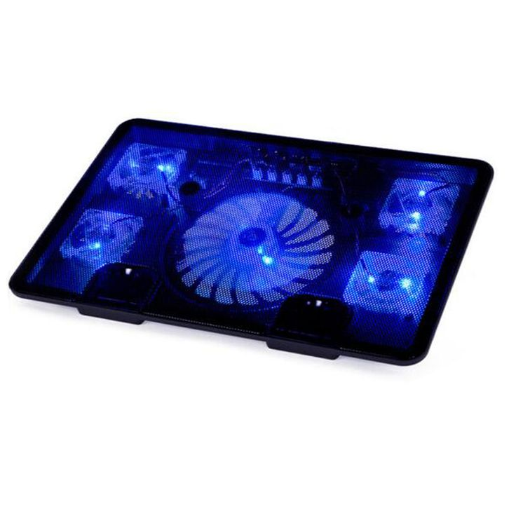 2016 5 Fan Dual USB Laptop Cooler Cooling Pad Base LED Notebook Cooler Computer USB Fan Stand For Laptop Computer