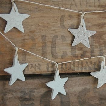 French and Sparrow   Christmas   Decorations   Clay Garland - Petite French Script Stars - Christmas Decoration - Handmade Emporium