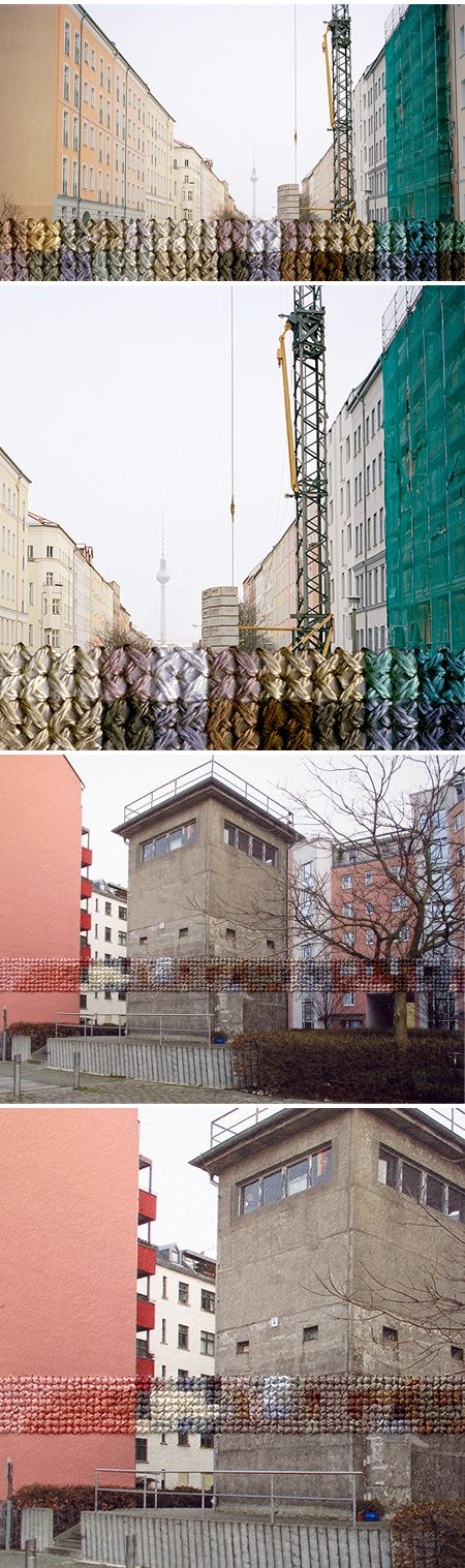 Embroidery and photography. This series is titled Berlin, and is the work of American artist Diane Meyer