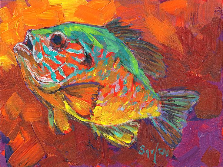 Bluegill study daily painting Savlen - I love the color of this guy, and the solid, chunky, strokes!