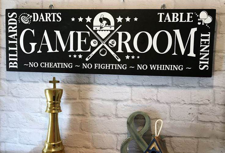 GAME ROOM RULES, Home Sign, Game Room Sign,  Garage Decor, Entertainment Decor, Darts, Table Tennis Decor, Billiards Decor, Pool Table Decor by NARSCH on Etsy