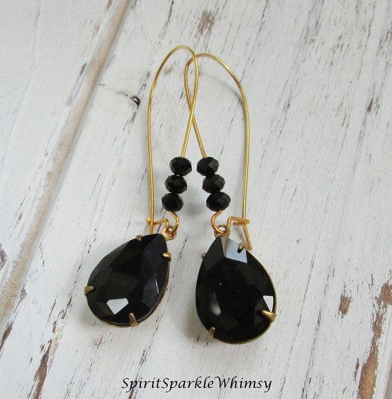 Black Rhinestone Teardrop EarringsEarring Bridal, Rhinestone and Spiritual Jewelry