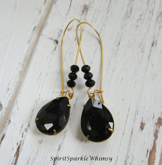 Black Earring Black Bridesmaid Earring by SpiritSparkleWhimsy