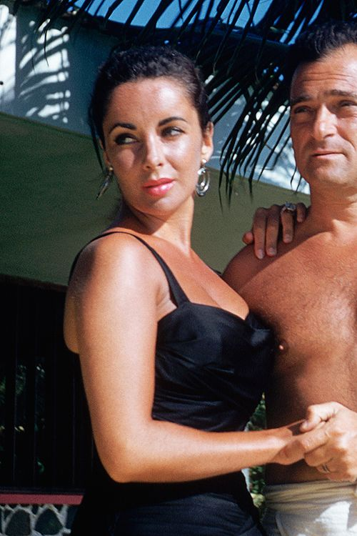 Elizabeth Taylor and husband Mike Todd during their honeymoon in Acapulco, 1957.
