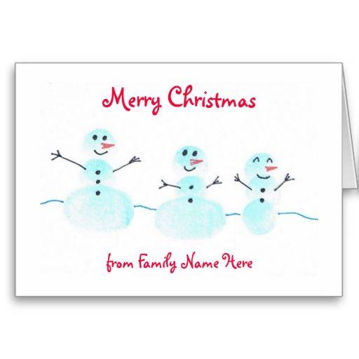 Carte de Noël de bonhomme de neige d'empreinte dig