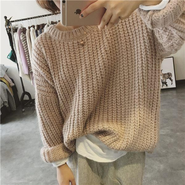 9b89b73147 itGirl Shop THICK KNIT OVERSIZED BEIGE GREEN PURPLE WARM SWEATERS Aesthetic  Apparel