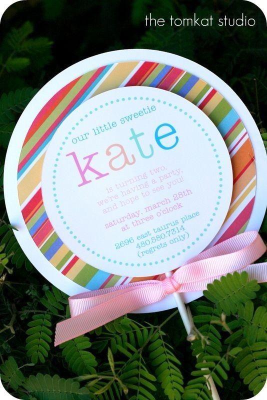 another cute inviteBirthday Parties Theme, Cupcakes Toppers, Candies Theme Parties, Birthday Invitations, Lollipops Parties, 1St Birthday, Lollipops Invitations, Parties Ideas, Birthday Ideas