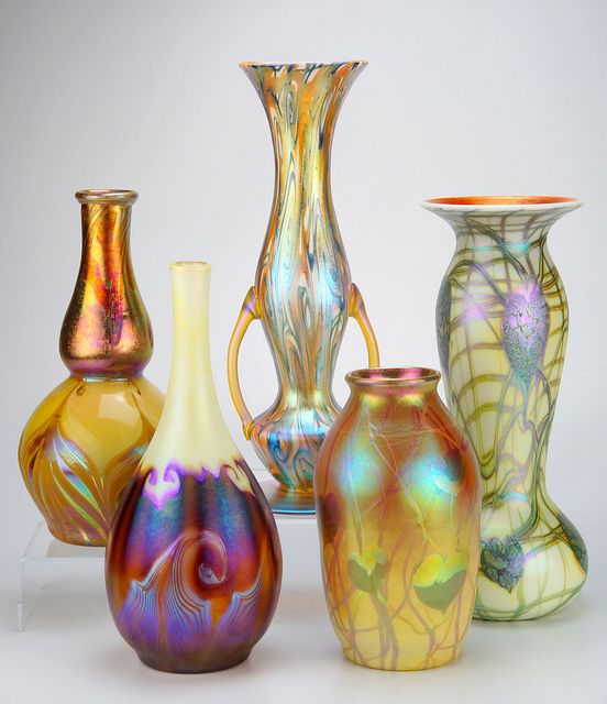 A Small Collection of American Art Glass circa 1900-1930  Quezal, Tiffany and Imperial glass