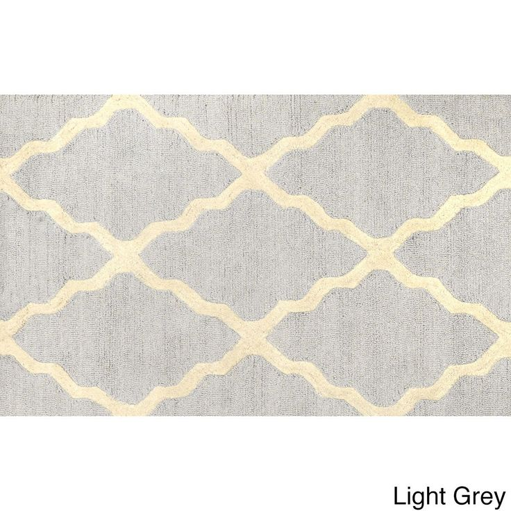 nuLOOM Hand-hooked Alexa Moroccan Trellis Wool Door Mat Rug (2' x 3') (Light Grey) (Oriental)
