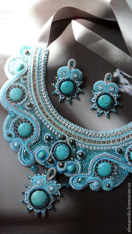 бирюзовое колье+серьги - бирюзовый,сутажное колье,украшение на шею,сутажные украшения