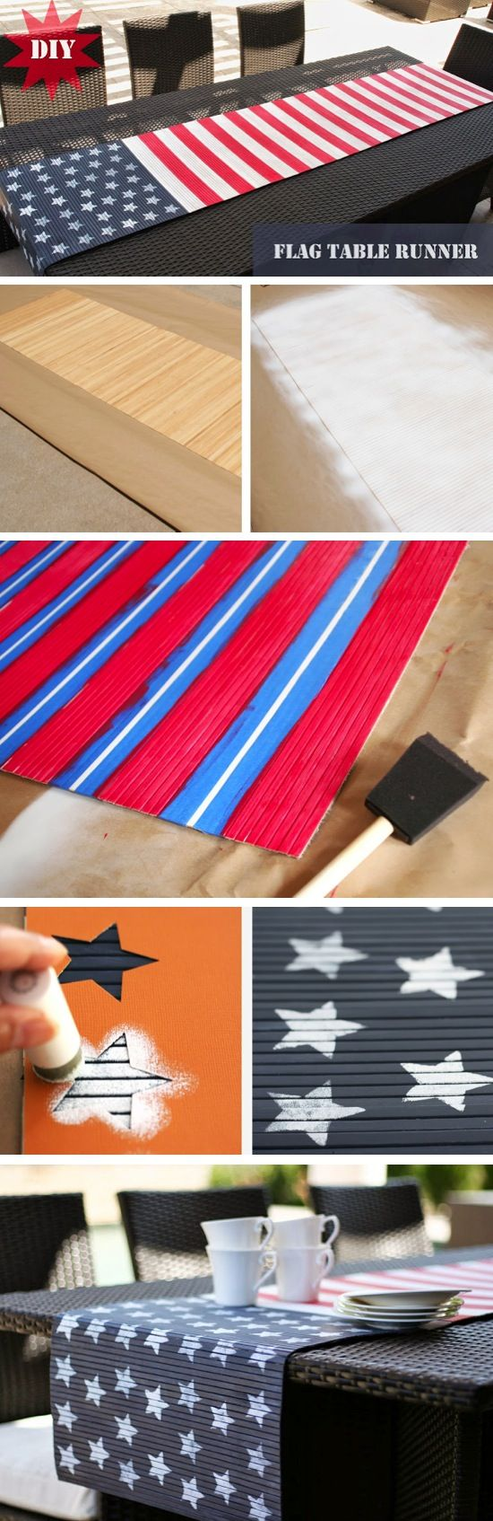 DIY American Flag Table Runner   Made with a bamboo table runner and little bit of paint! It's easy to store and doesn't wrinkle.