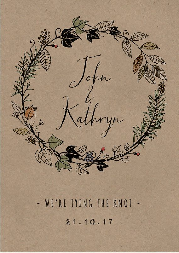 Autumn Flora & Fauna Hand Drawn Wedding Invitations + Information Card