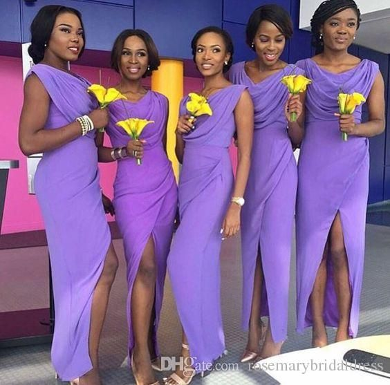 Purple Mermaid Bridesmaid Dresses Black Girl Chiffon Side Split Maid of Honour of Wedding Guest Dresses La Dama De Honor Bridesmaid Dresses Prom Dress Demoiselle D'honneur Online with $124.58/Piece on Rosemarybridaldress's Store | DHgate.com