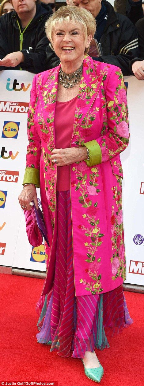 Stand-outs: Gloria Hunniford (left) and Penelope Wilton (right) caught the eye in bright m...