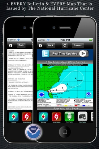 HURRICANE TRACKER iPHONE app $3.00 - Latest official maps, data and projections. For Android try fre HURRICANE SOFTWARE app.