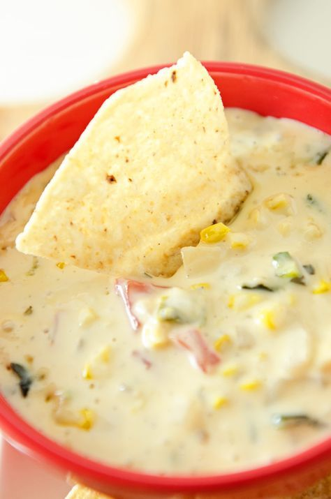 Grilled Corn and Poblano Queso Blanco...sweet, spicy and creamy white queso served with tortilla chips, tortilla strips or fritos
