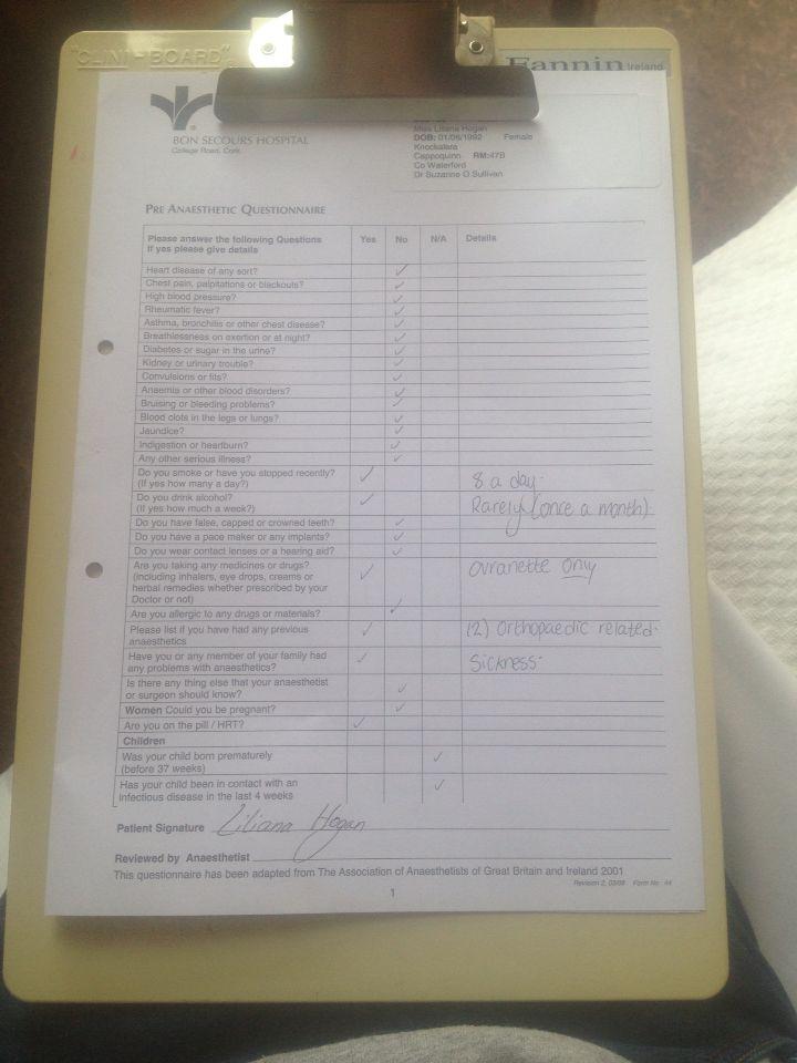 Pre - Anaesthetic Questionnaire 📋🖊💉💊🏥