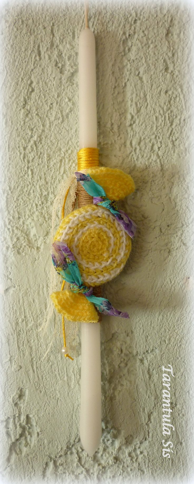 Crochet candy. Easter candle decoration.