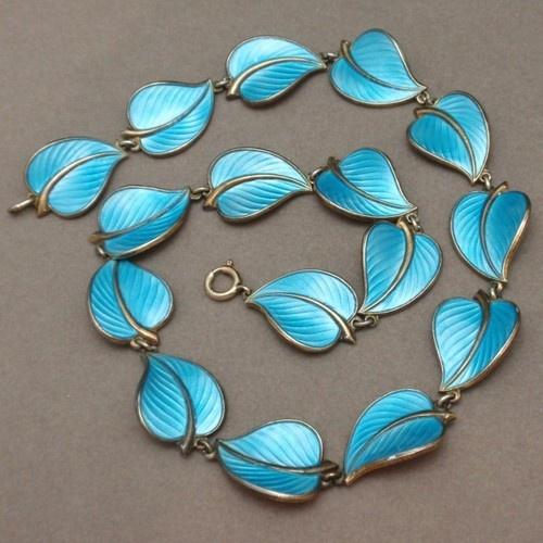 Blue Leaf Necklace Sterling Silver Vermeil Enamel Norway Hans Myhre | eBay
