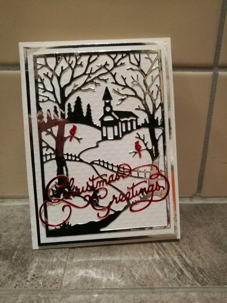 Enkelt julekort laget med to dieser fra Cottagecutz